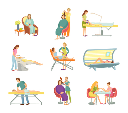 Procedures in spa and beauty salon isolated vector set. Specialist in uniform and rubber gloves and client on armchair or table, manicure and pedicure