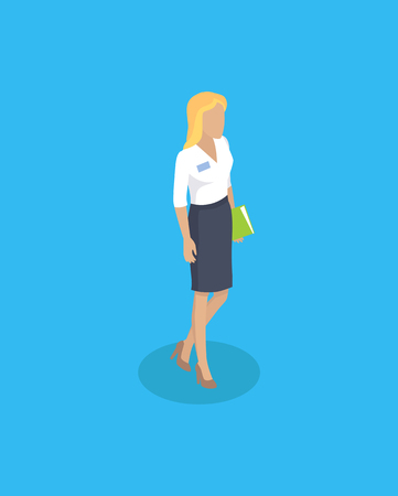 Woman wearing blouse and skirt classy style of secretary. Lady holding book document in hands. Blonde person intelligent worker buinsesslady vector Ilustrace