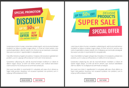 Special promotion discount offer posters with text sample set. Exclusive products buy now super sale shopping with money saving. Good deal vector