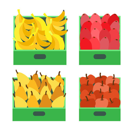 Banana fruit tropical food ripe apples set vector. Pears and beetroots in containers ready for transportation. Fresh organic meal rich in vitamins