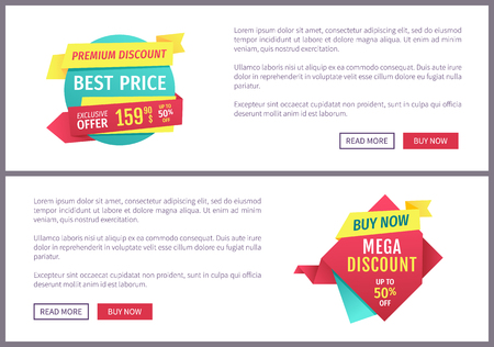Special offer banners set, vector design icons. Best price, mega and premium discount, buy now button, exclusive promotion, online poster sample. Ilustração