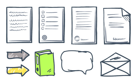 Office paper documents and arrows isolated icons vector. Thought bubble, book publication and indicators, envelope and letters. Documentation set 일러스트