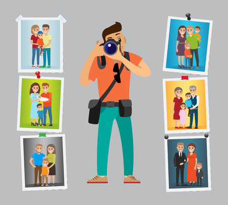 Family photographer with digital camera taking photo. Man making pictures of parents, grandparents and children. Samples of his work hanging on wall vector Ilustração
