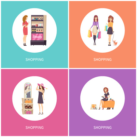 Shopping customers walking with dog pet posters set vector. Choosing hat headwear with price tags, wearing shoes. Beauty stand with cosmetics makeup 일러스트
