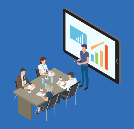 Phone mobile monitor, seminar isolated isometric 3d icons of people working. Analyst presenting info from screen. Charts and diagrams data vector