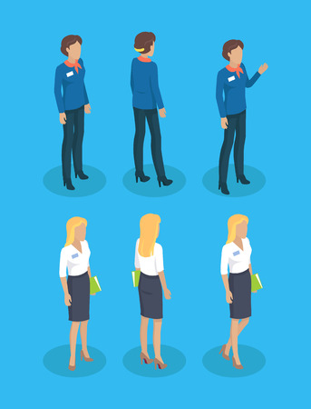 Woman guide with decorative bow on neck. Consultant lady with name tag on blouse wearing heels. Blonde and brunette workers set isolated on vector Vettoriali