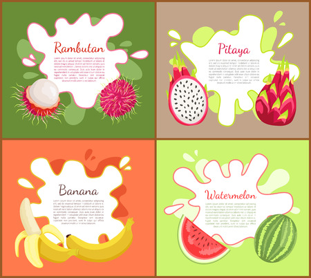 Rambutan and pitaya, posters set with text sample. Watermelon with seeds and vitamins, ripe banana, tasty tropical and exotic fruits with info vector