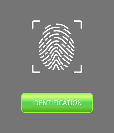 Identification fingerprints poster with print in frame and button. Fingermark and thumbprint authorization of unique personal finger pattern of human