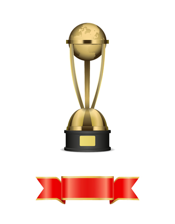 Globe gold award with blank tape for signature. Realistic vector planet on gilded stand with nameplate trophy and awarding silk ribbon below isolated.