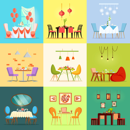 Restaurant rooms, romantic interior tables and chairs vector. Reserved places, desks with served birthday cake, fast food, and oriental exotic meal Stock Vector - 126555832