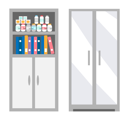 Veterinarian bookcase with files and bottles set of isolated icons vector. Pills and containers with curing vitamins for pets. Interior and furniture