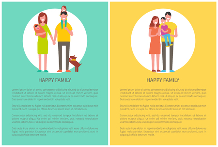 Happy family spend time together, couple and child on walk, vector posters. Mother, father, newborn kid, infant and dog and boy on dads hands vector with text