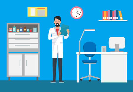Veterinary clinic, doctor in gown examining case vector. Case with bottles and drugs for patients, doc with paper reading documents. Interior of room