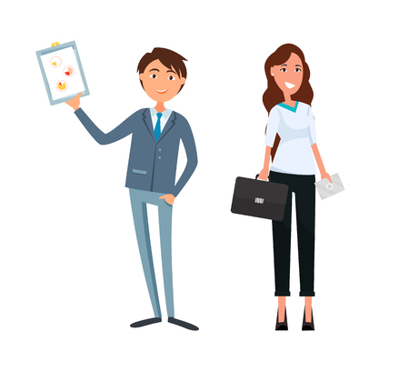 Business plan of man and woman, workers teamwork vector. Chief executive with businesswoman planning company steps. Partner of boss, lady companion