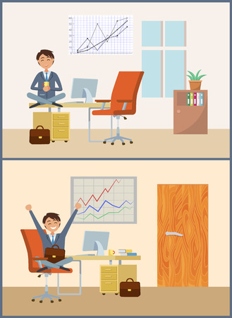 Business person with cup of warm beverage, break of director. Man relaxing in room with whiteboard and growing graphics. Interior of chief executive