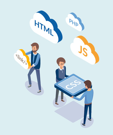 Web development, people with coding languages vector. Programmers with clouds, javascript and html, css design element of sites. Workers with script Illustration