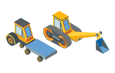 Excavator and transport with cargo place conveyor belt isolated icons vector. Machinery used in constructions and development. Machine with shovel
