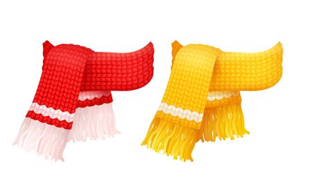Paire d'écharpes tricotées jaunes et rouges avec des icônes vectorielles de fils de laine blancs. Foulard fait main en gros fil épais d'hiver, accessoires de foulards chauds Vecteurs