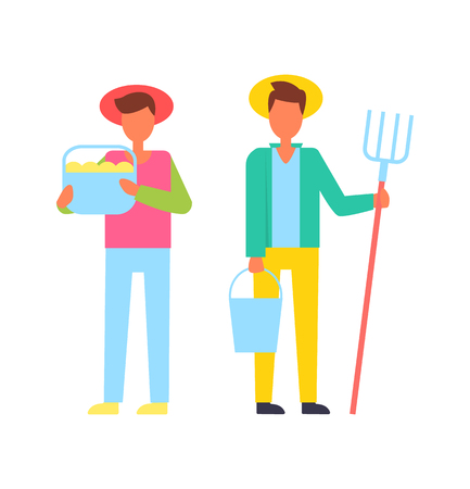 Farmers people with tools hayfork pitch and bucket filled with ripe fruits. Harvest and gathered production from farm farming males icons set vector