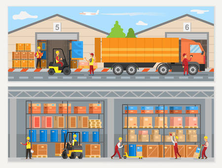 Warehouse workers with boxes and trucks loaders vector. People working at factory, logistics and transportation, goods shipment and delivery service