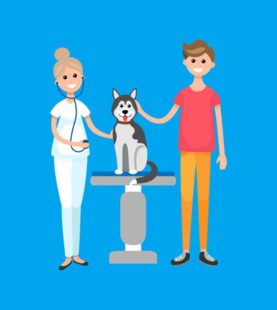 Veterinarian doctor, patient with dog, pet clinic hospital vector. Breed animal pet on examination, nurse with stethoscope. People with mammal canis
