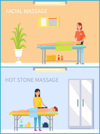 Facial massage and hot stone treatment set of people relaxing on table of messages vector. lotions and creams, aroma candles and plants decoration 일러스트