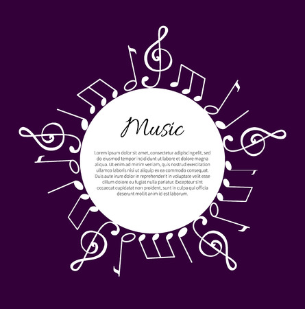 Music notes, notation tablature making round wavy frame and text vector. Melody sounds, visual presentation of sounds. Musical composition circled Illusztráció