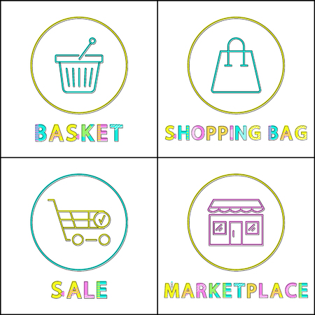 Shopping bag and basket, sale in marketplace cards isolated on white background set of vector illustrations, hand-barrow and shop icons in circles