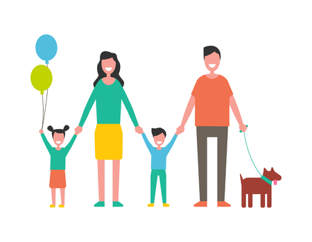 Happy family colorful vector icon cartoon style. Smiling people, parents holding children hands, kid with balloon, and dog on leash, isolated banner Illustration