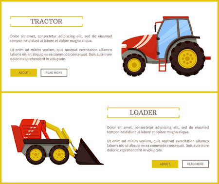 Loader bulldozer and tractor posters set vector. Excavator used in farming and agriculture, rural machinery and devices for transporting products
