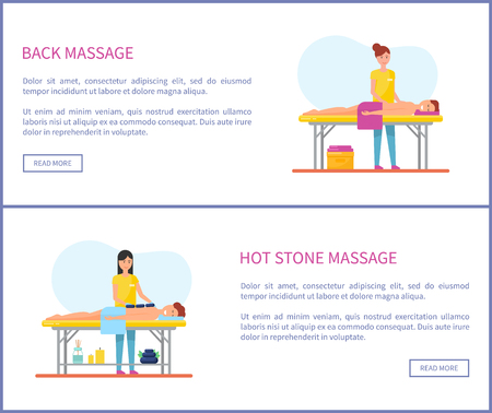 Hot stone and back medical massage session cartoon vector web pages set. Woman masseur in uniform massaging patient lying on table covered by towel Illustration