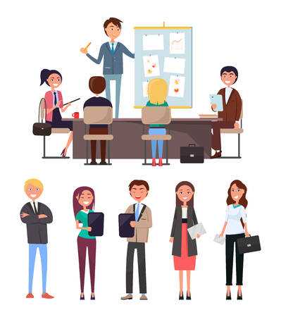 Business conference, seminar with workers and boss vector. Whiteboard and charts, diagrams and strategy plan. Chief executive, office employees rally Illustration