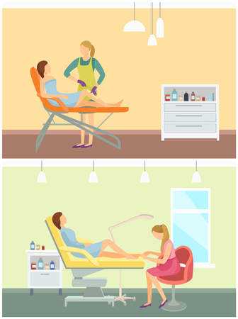 Pedicurist pedicure and wax depilation with stripes set vector. Epilation in salon of professional worker in beauty industry. Nails polishing service