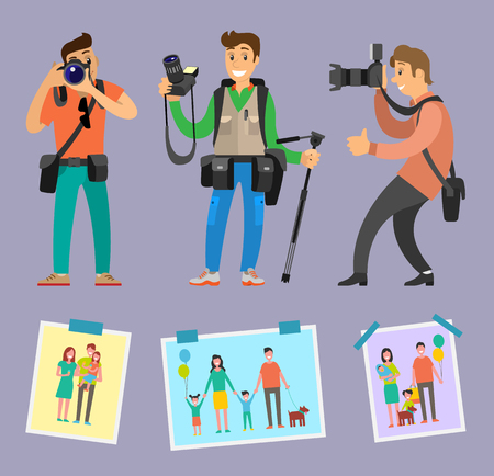 Modern photographers with professional equipment camera gears and tripod vector. Samples of works family pictures with mother, father, child and pet