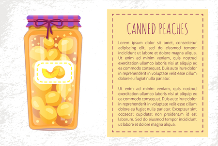 Canned peaches preserved in jar with lace and sticker. Fruit conservation and storage. Canning of food to eat poster with text sample in block vector Illustration