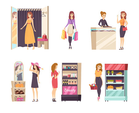 Shopping female in changing room ladies set vector. Dress wearing, choosing hat and buying jewelry accessories at store. Food and cosmetics stand