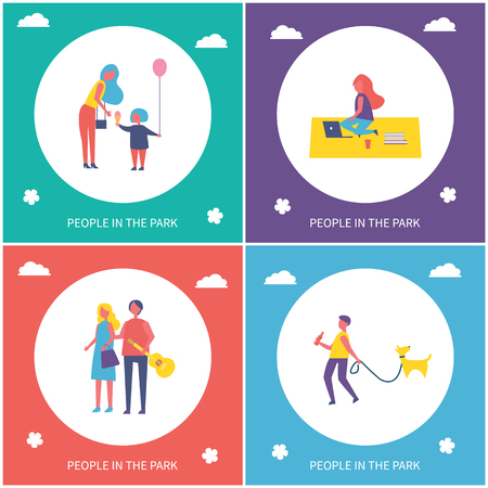 People in park have fun and rest isolated cartoon emblem vector banner set. Mother and daughter with ice cream and balloon, couple walking together