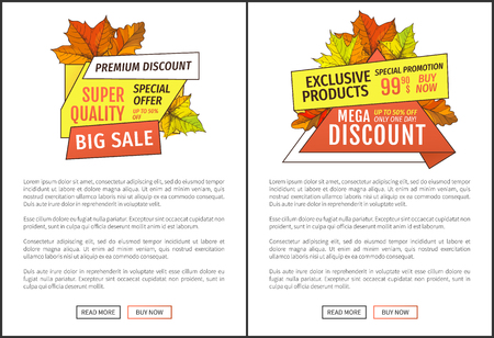 Premium discounts on exclusive products special promotion 99.90 price buy now. Advertisement posters maple leaves. Autumn fall costs reduction banners