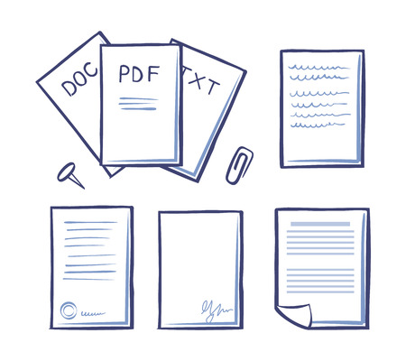 Office paper and documents, doc and pdf, txt and signature on bottom of pages vector. Paperclip and pin, publications and binder for documentation