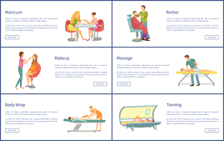 Manicure and manicurist working with client. Tanning and massage masseur, body wrap and hair styling haircut change. Barber for men posters set vector
