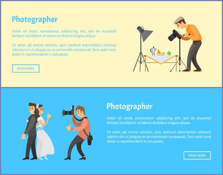 Still life and wedding photographers with cameras banners set. Fruits near teapot composition, bride next to groom taking photo vector illustrations.
