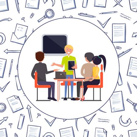 Business-Meeting-Problemlösungs-Seminarvektor. Menschen und Moderator, die den Zuhörern Informationen geben. Nahtloses Muster von Nachrichten, Umschlägen und Seiten
