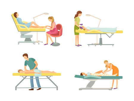 Spa salon pedicure and massage procedure isolated icons set vector. Body wrap and facial changes by cosmetician, treatment of skin and back by masseur