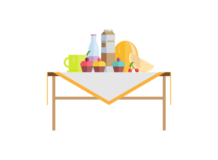 Food composition on table with cupcakes and milk in pack or bottle. Cherry with melon, cup on tablecloth, fruit near desserts vector illustration.