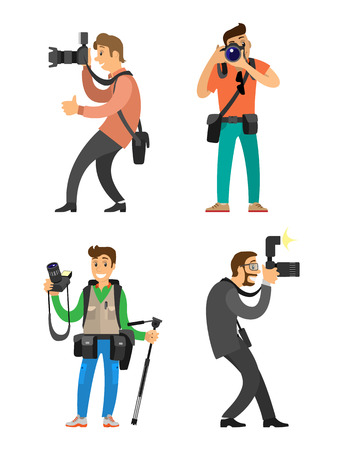 Photographers or paparazzi with cameras on tripod taking pictures. Photojournalists carrying equipment, device for photo shooting vector illustration.