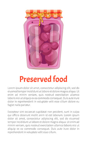 Preserved food poster canned purple plums in glass jar with lid decorated with string and bow. Home cooking fruit conservation vector with text sample Illustration