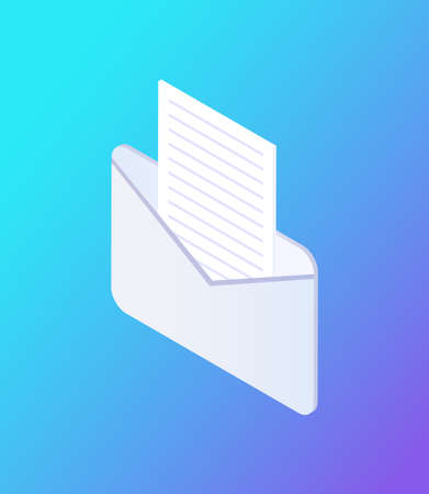 Social network envelope isolated icon vector. Opened mail and correspondence chatting in web, document and page with information destined to person 向量圖像