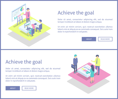 Achieve goal presentation, posters set with text and working people. Business conference meeting of businessman. Team discussing results data vector