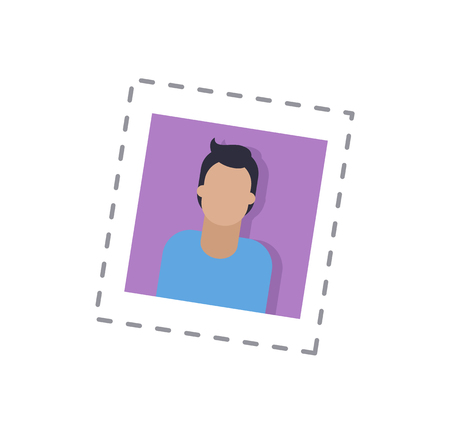 Blogger male, man main picture of profile in social network, isolated sticker and patch vector. Person using internet for communication and ideas