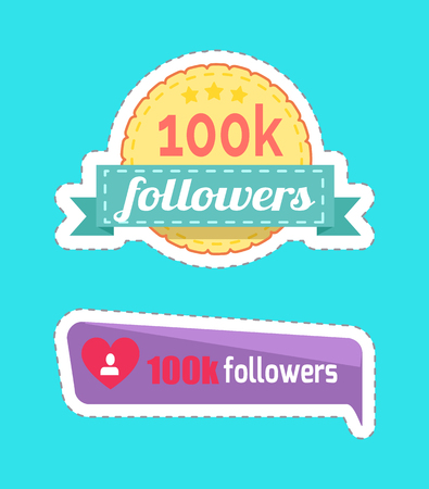 100 K Followers Numbers and Profile Set Vector
